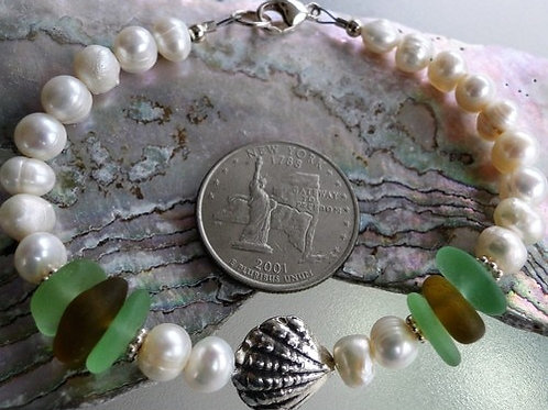 Freshwater Pearl Karen Hill Tribe Sterling Silver Sea Glass Bracelet #6