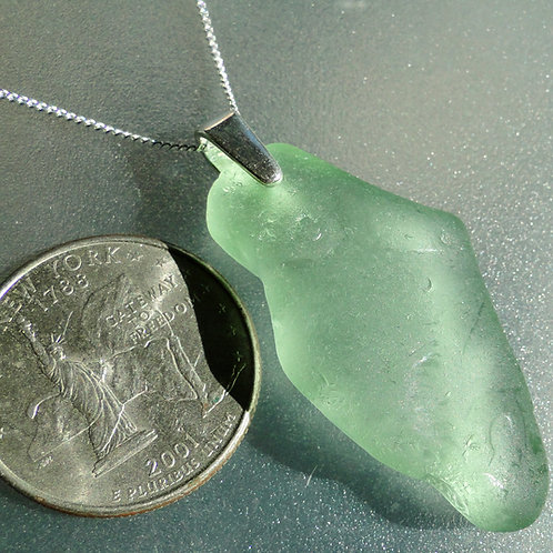 Sterling Silver Bail Seafoam Sea Glass Necklace #5