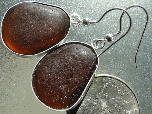 Bezel Set Brown Sea Glass Earrings #7