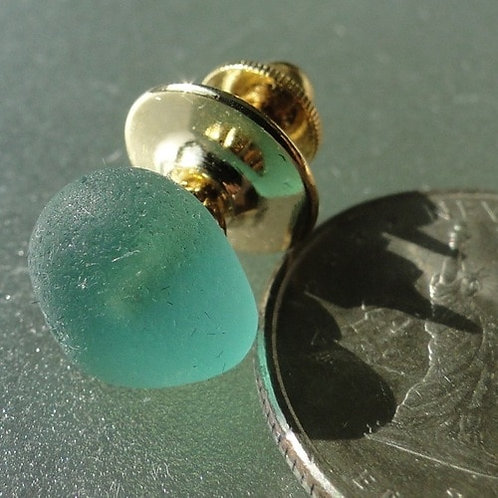 Gold Filled Mens Turquoise Sea Glass Tie Tack #19