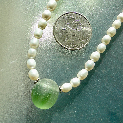 Freshwater Pearl Sterling Silver Olive Swirl English Sea Glass Necklace #24