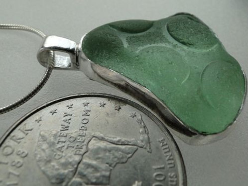 Seafoam Hobnail Bezel Set English Sea Glass Necklace