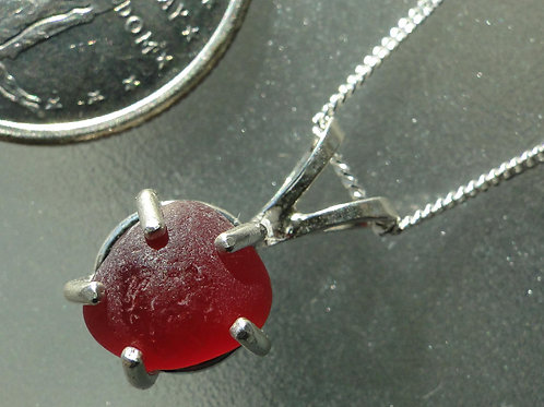 Sterling Silver Prong Set Red Sea Glass Necklace #6