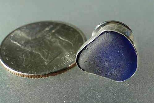 Sterling Silver Bezel Set Mens Cobalt Sea Glass Tie Tack #3