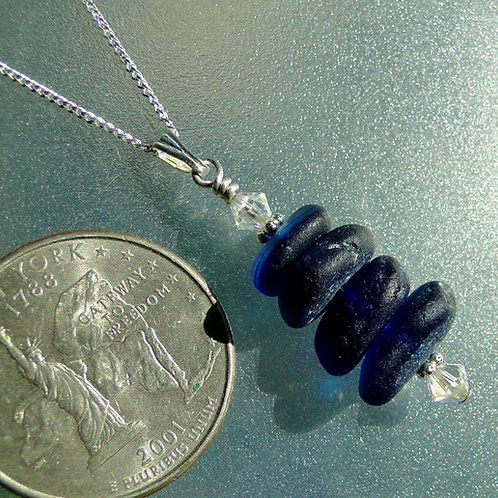 Sterling Silver Dark Blue Stacked Sea Glass Necklace #3