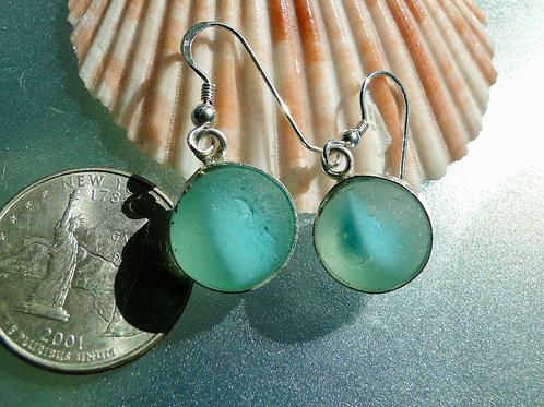 Bezel Set Turquoise Marbles Sea Glass Earrings #1