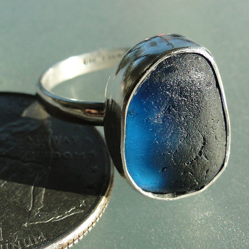 Sterling Silver Cobalt Blue Bezel English Sea Glass Ring #8 Size 8