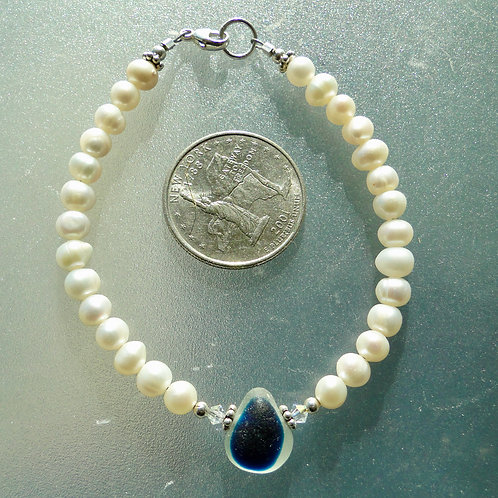 Freshwater Pearl Sterling Silver Blue English Sea Glass Bracelet #14