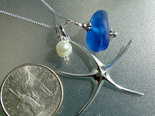 Sterling Silver Starfish Pearl Blue Sea Glass Necklace #15