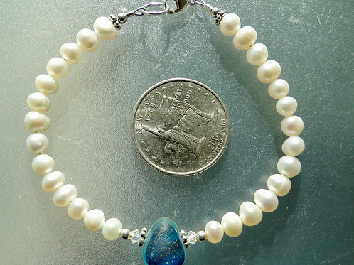 Freshwater Pearl Sterling Silver Blue English Sea Glass Bracelet #10