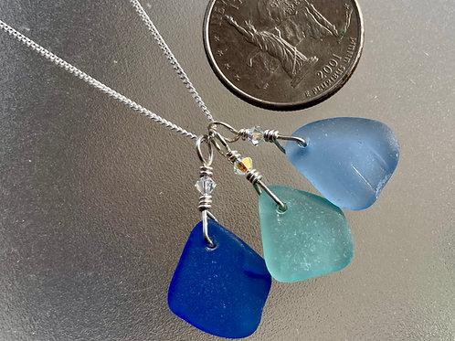 Sterling Silver Triple Piece Sea Glass Necklace #3