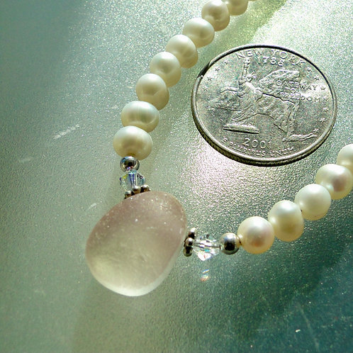 Freshwater Pearl Sterling Silver Pale Pink English Sea Glass Necklace #6