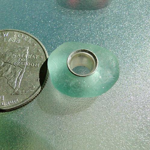 Genuine Aqua Sea Glass Bead from Long Island #9