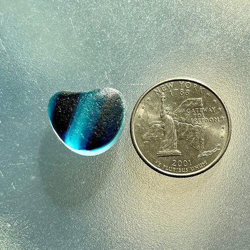 Genuine Turquoise Blue English Heart Shaped Sea Glass End of Day #18