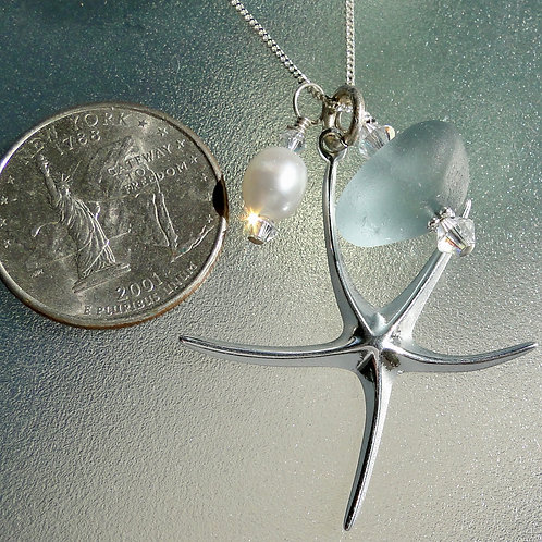 Sterling Silver Starfish Pearl Grey Sea Glass Necklace #11