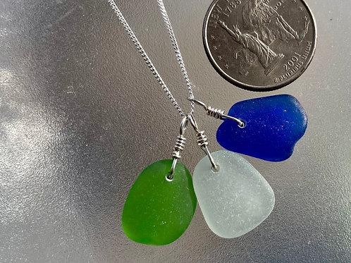 Sterling Silver Triple Piece Sea Glass Necklace #1