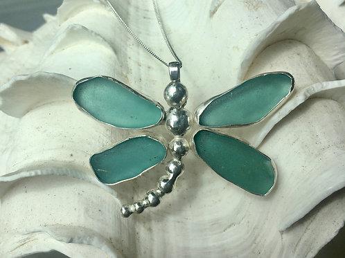 Turquoise Bezel Set Sea Glass Dragonfly Necklace