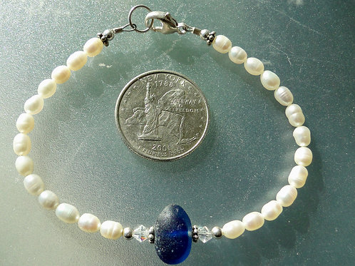 Freshwater Pearl Sterling Silver Blue English Sea Glass Bracelet #13