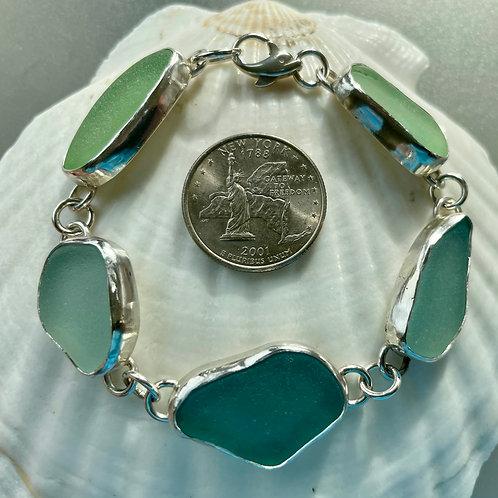 Bezel Set Turquoise Aqua Seafoam Sea Glass Bracelet #3