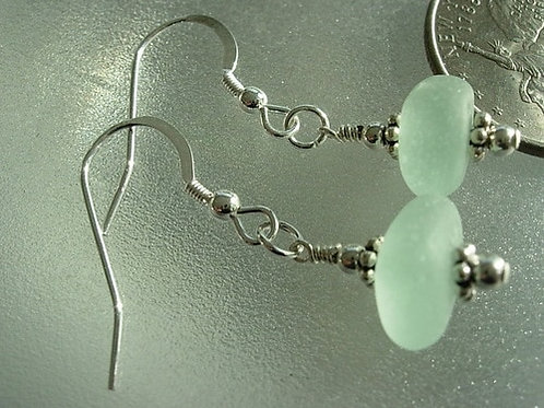 Drop Seafoam Sea Glass Earrings #2