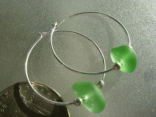 Sterling Silver Green Hoop Sea Glass Earrings #12
