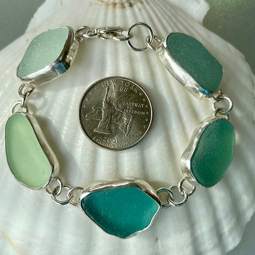 copy of Bezel Set Turquoise Aqua Seafoam Sea Glass Bracelet #4