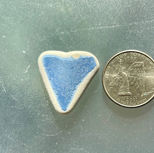 Genuine Pale Blue Heart Shaped Pottery Sea Glass #41