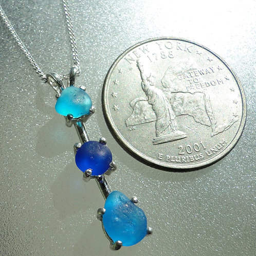 Sterling Silver Prong Set Turquoise Blue Sea Glass Necklace #7