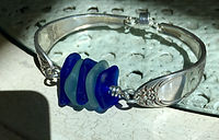 Long Island sea glass spoon bracelet.