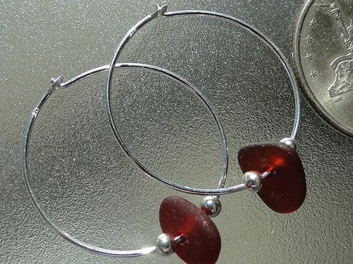 Sterling Silver Red Hoop Sea Glass Earrings #7