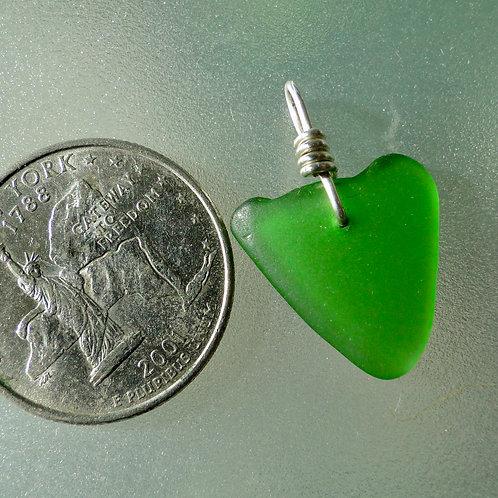 Genuine Heart Shaped Sea Glass Green Pendant #12