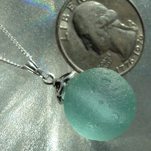 Sterling Silver Drop Set Sea Glass Marble Necklace #2