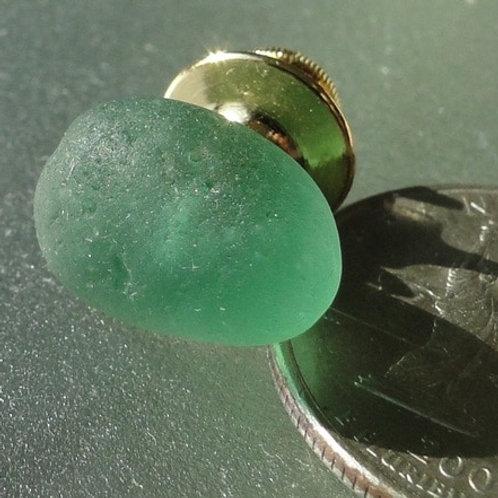 Gold Filled Mens Aqua Sea Glass Tie Tack #20