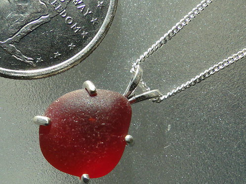 Sterling Silver Prong Set Red Sea Glass Necklace #5