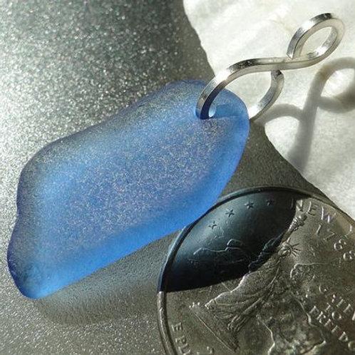Cornflower Blue Sea Glass Pendant #2