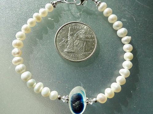 Freshwater Pearl Sterling Silver Blue English Sea Glass Bracelet #3