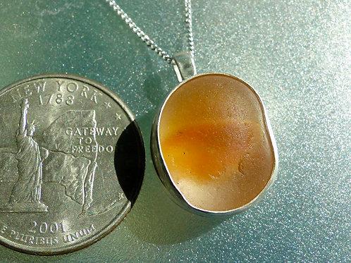 Bright Orange Bezel Set Sea Glass Cateye Marble Necklace