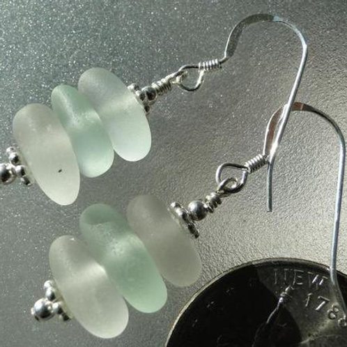 Stacked Sterling Silver Sea Glass Earrings #6