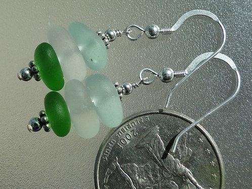Stacked Sterling Silver Sea Glass Earrings #2