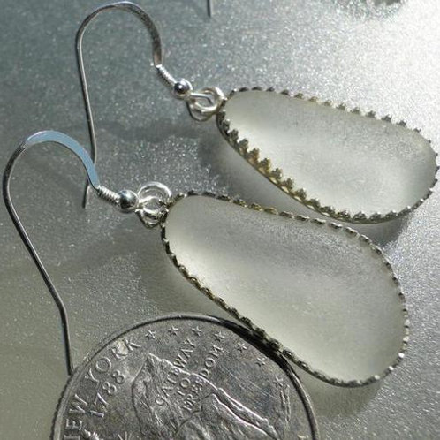 Bezel Set White Sea Glass Earrings #4
