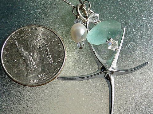 Sterling Silver Starfish Pearl Aqua Sea Glass Necklace #10