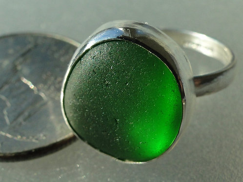 Sterling Silver Green Bezel English Sea Glass Ring #10 Size 8