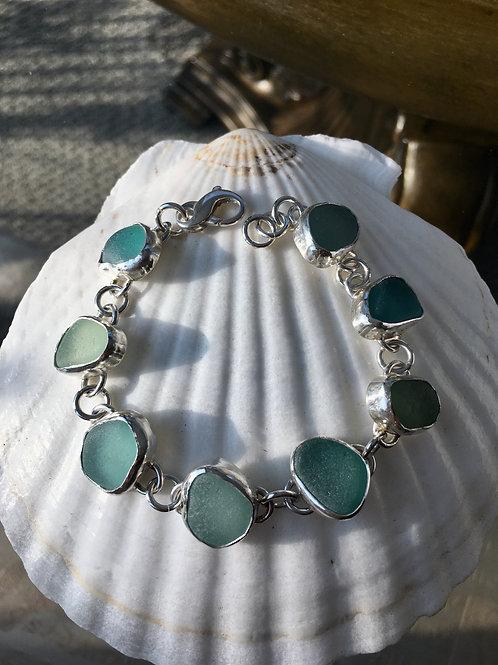 Bezel Set Seafoam Sea Glass Bracelet