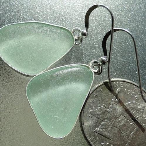 Bezel Set Seafoam Sea Glass Earrings #3