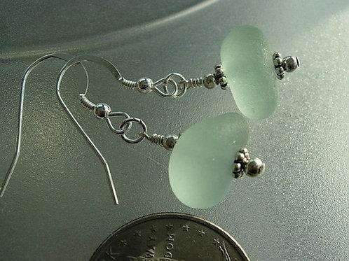 Drop Seafoam Sea Glass Earrings #1