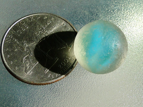 Authentic Turquoise Sea Glass Cateye Marble #14