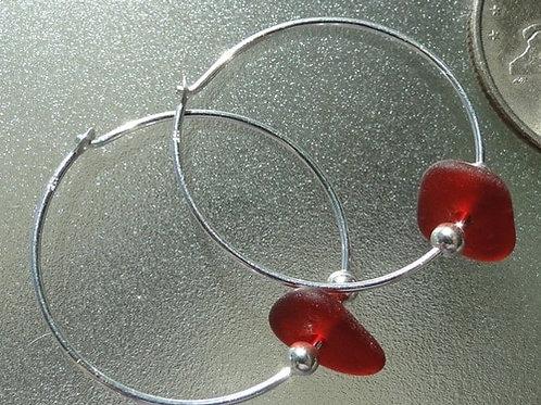 Sterling Silver Red Hoop Sea Glass Earrings #9