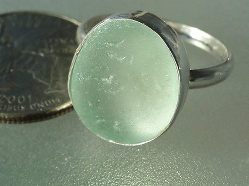 Sterling Silver Seafoam Bezel English Sea Glass Ring #9 Size 9