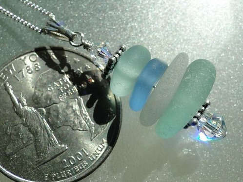 Sea Glass Necklace Stacked Style