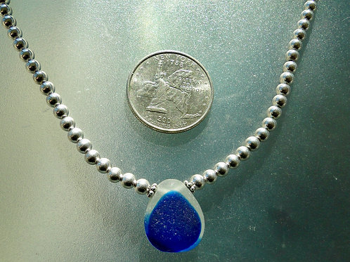 Sterling Silver Blue English Sea Glass Necklace #31